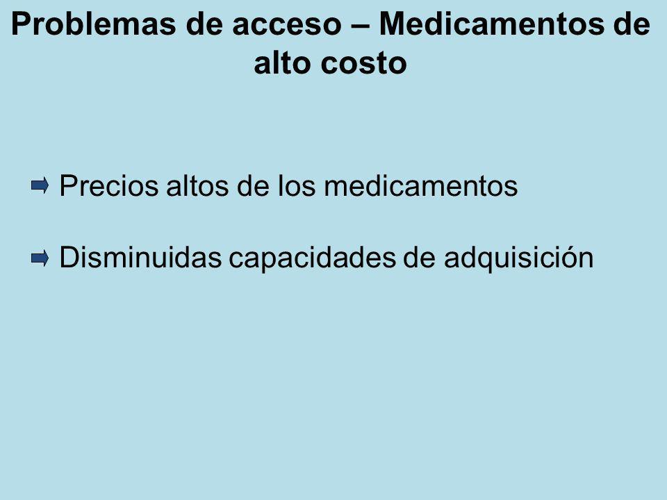 Problemas de acceso – Medicamentos de alto costo Precios altos de los medicamentos Disminuidas capacidades de adquisición
