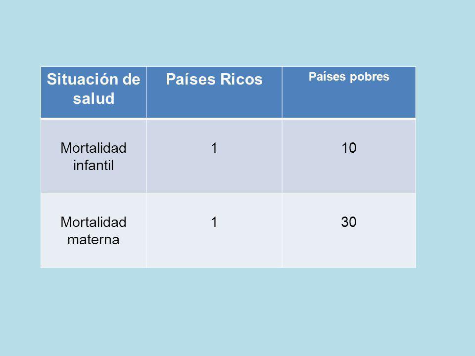 Situación de salud Países Ricos Países pobres Mortalidad infantil 110 Mortalidad materna 130