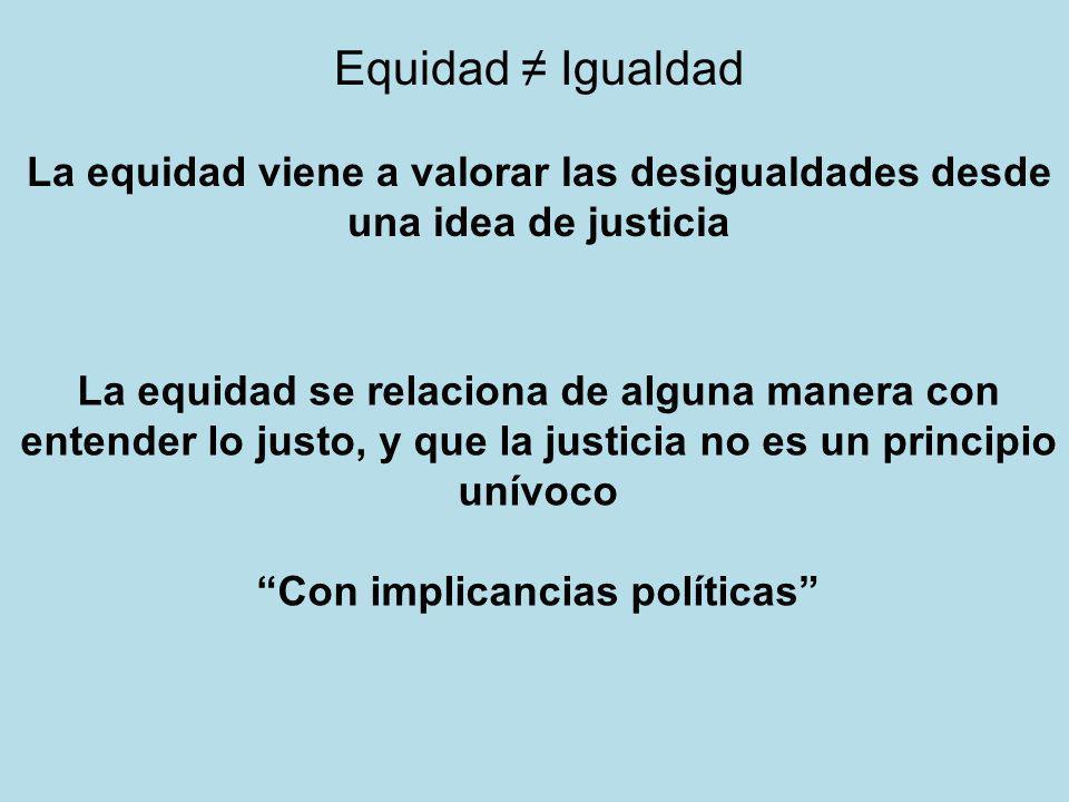 Equidad Igualdad La equidad viene a valorar las desigualdades desde una idea de justicia La equidad se relaciona de alguna manera con entender lo just