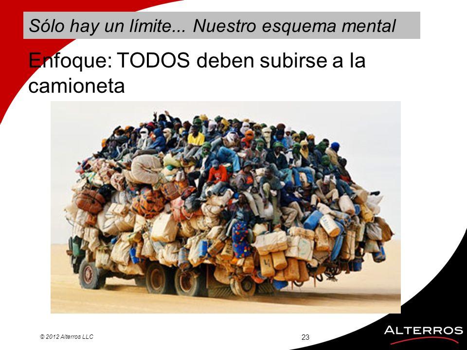 Sólo hay un límite... Nuestro esquema mental © 2012 Alterros LLC 23 Enfoque: TODOS deben subirse a la camioneta