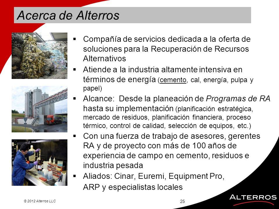 Acerca de Alterros Compañía de servicios dedicada a la oferta de soluciones para la Recuperación de Recursos Alternativos Atiende a la industria altam