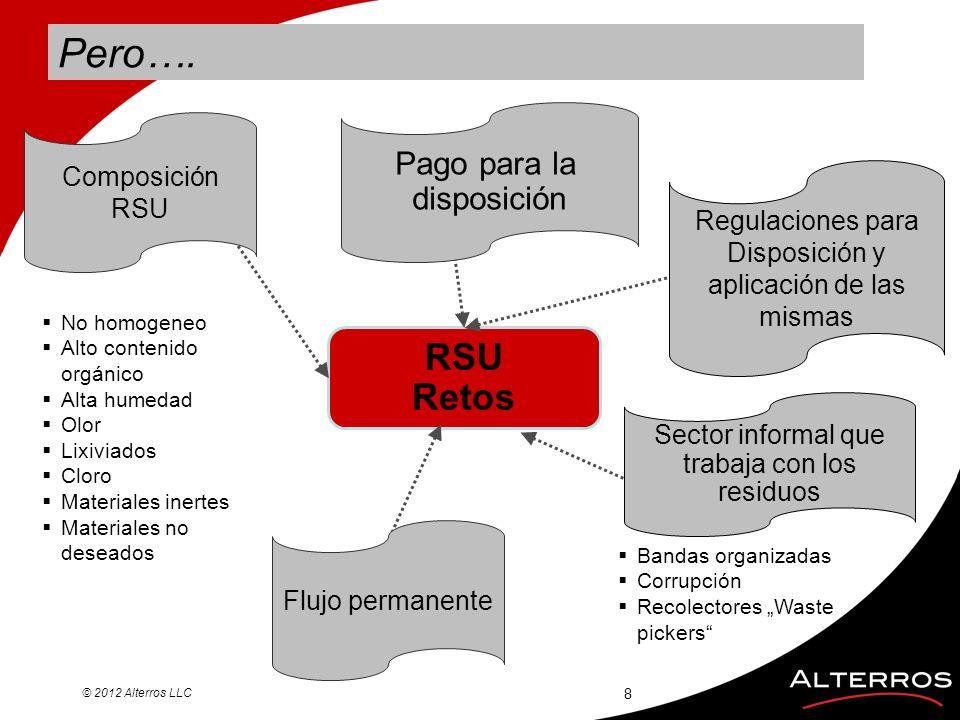 Pero…. © 2012 Alterros LLC 8 RSU Retos Pago para la disposición Regulaciones para Disposición y aplicación de las mismas Sector informal que trabaja c