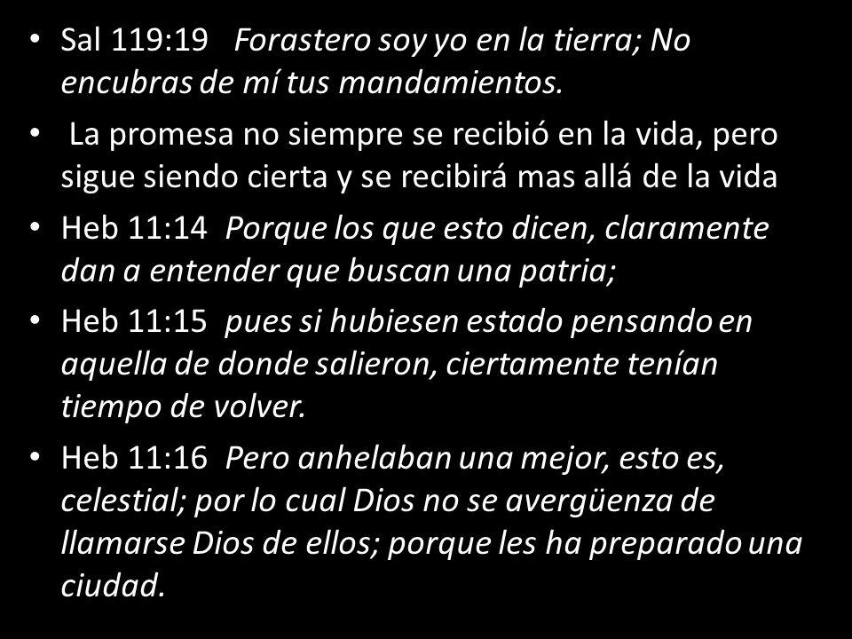 Sal 119:19 Forastero soy yo en la tierra; No encubras de mí tus mandamientos. La promesa no siempre se recibió en la vida, pero sigue siendo cierta y