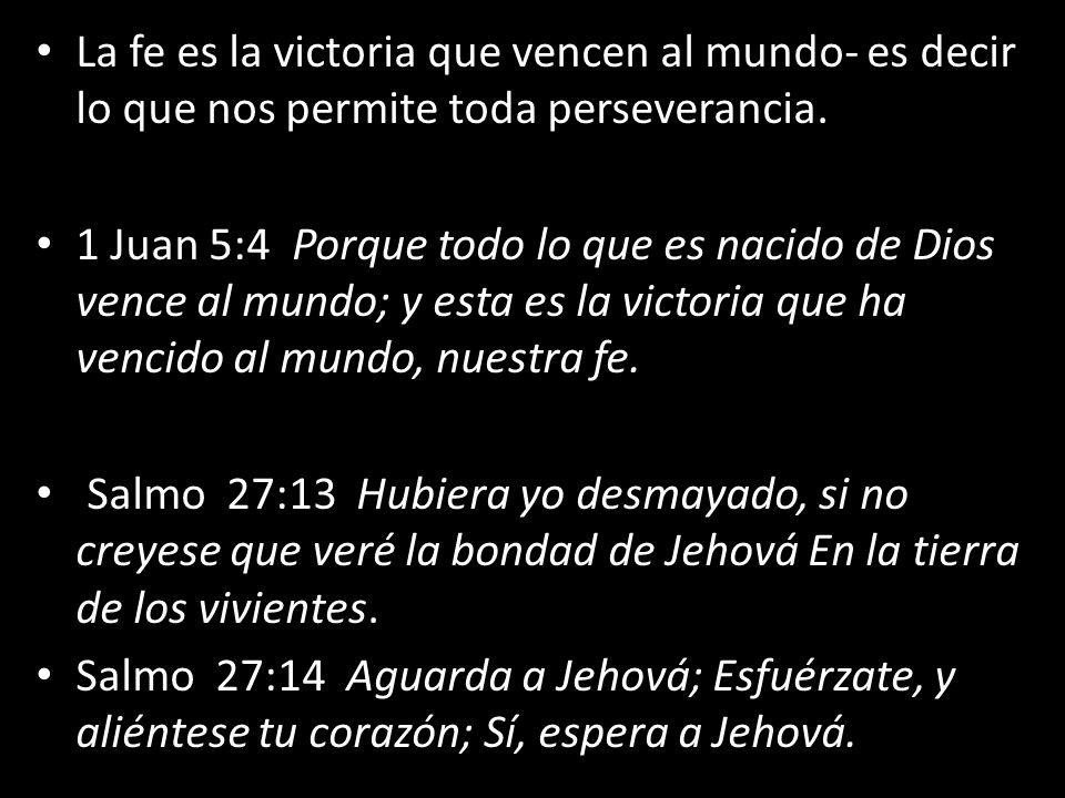 La fe es la victoria que vencen al mundo- es decir lo que nos permite toda perseverancia. 1 Juan 5:4 Porque todo lo que es nacido de Dios vence al mun