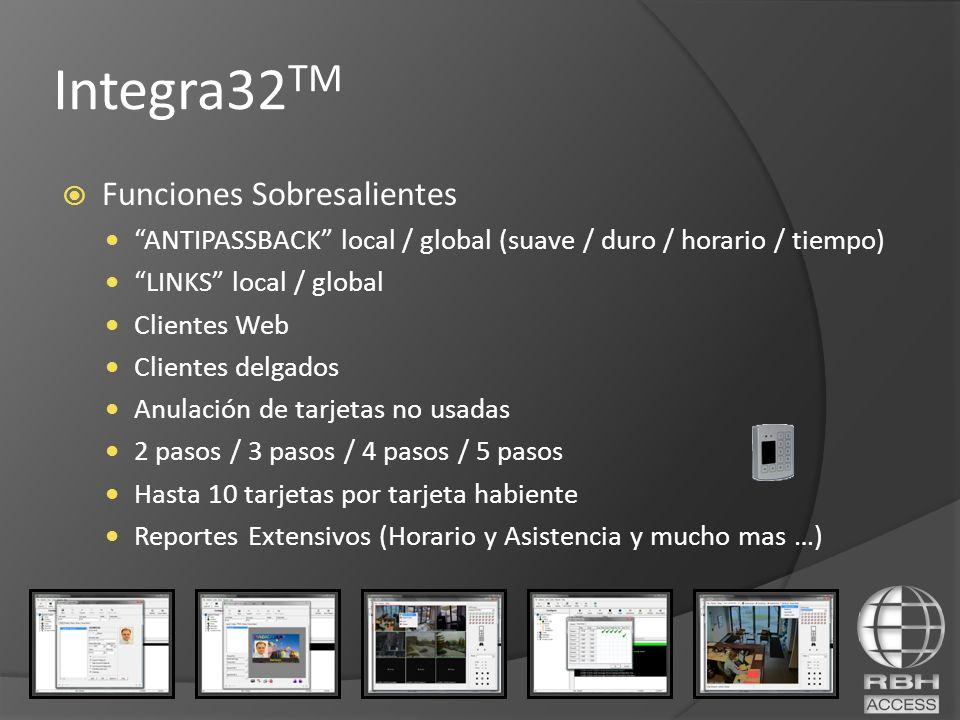 Funciones Sobresalientes ANTIPASSBACK local / global (suave / duro / horario / tiempo) LINKS local / global Clientes Web Clientes delgados Anulación d