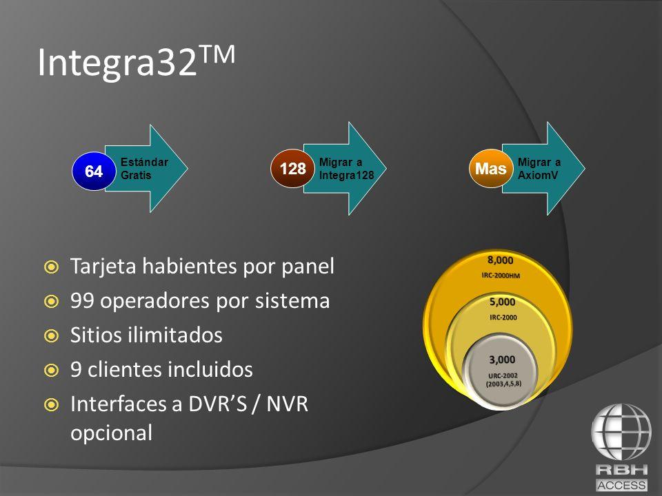 Tarjeta habientes por panel 99 operadores por sistema Sitios ilimitados 9 clientes incluidos Interfaces a DVRS / NVR opcional Migrar a Integra128 128