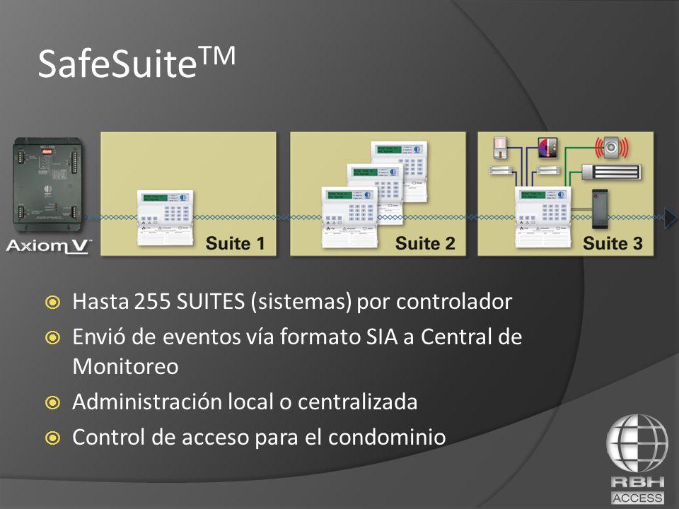 SafeSuite TM Hasta 255 SUITES (sistemas) por controlador Envió de eventos vía formato SIA a Central de Monitoreo Administración local o centralizada C