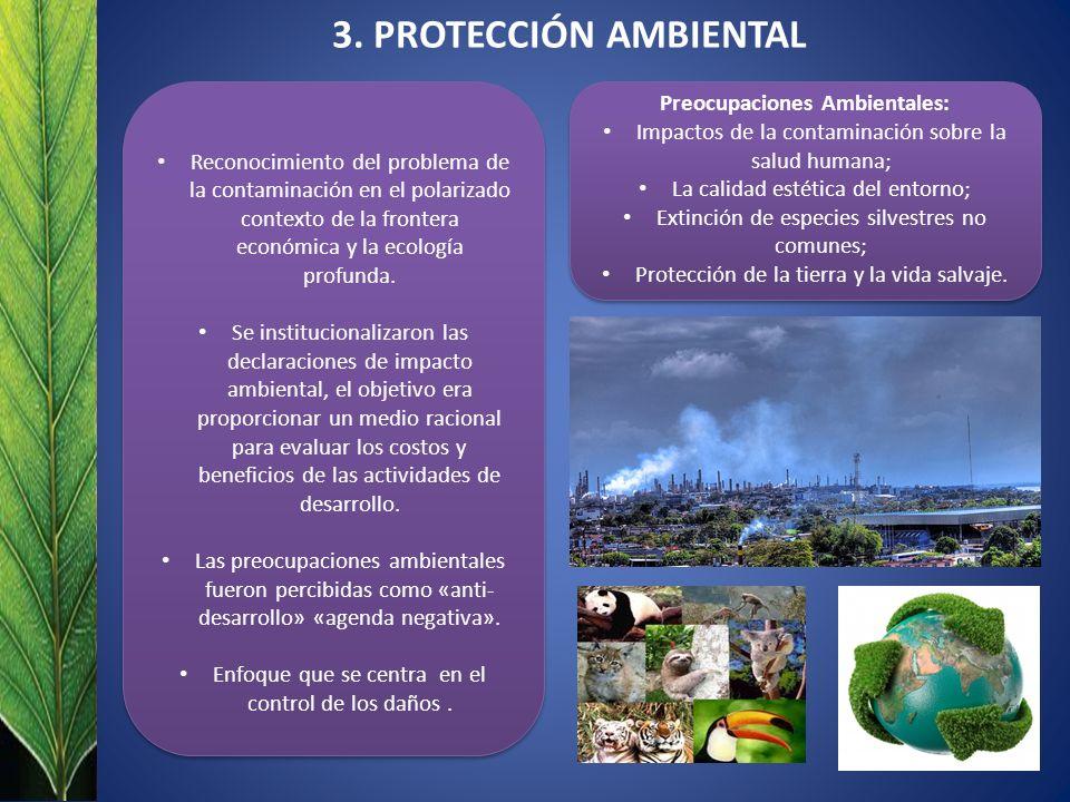 3. PROTECCIÓN AMBIENTAL Reconocimiento del problema de la contaminación en el polarizado contexto de la frontera económica y la ecología profunda. Se