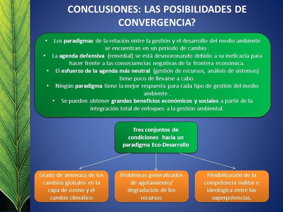 CONCLUSIONES: LAS POSIBILIDADES DE CONVERGENCIA? Los paradigmas de la relación entre la gestión y el desarrollo del medio ambiente se encuentran en un
