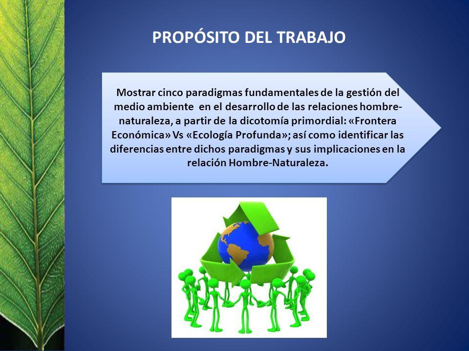 Mostrar cinco paradigmas fundamentales de la gestión del medio ambiente en el desarrollo de las relaciones hombre- naturaleza, a partir de la dicotomía primordial: «Frontera Económica» Vs «Ecología Profunda»; así como identificar las diferencias entre dichos paradigmas y sus implicaciones en la relación Hombre-Naturaleza.