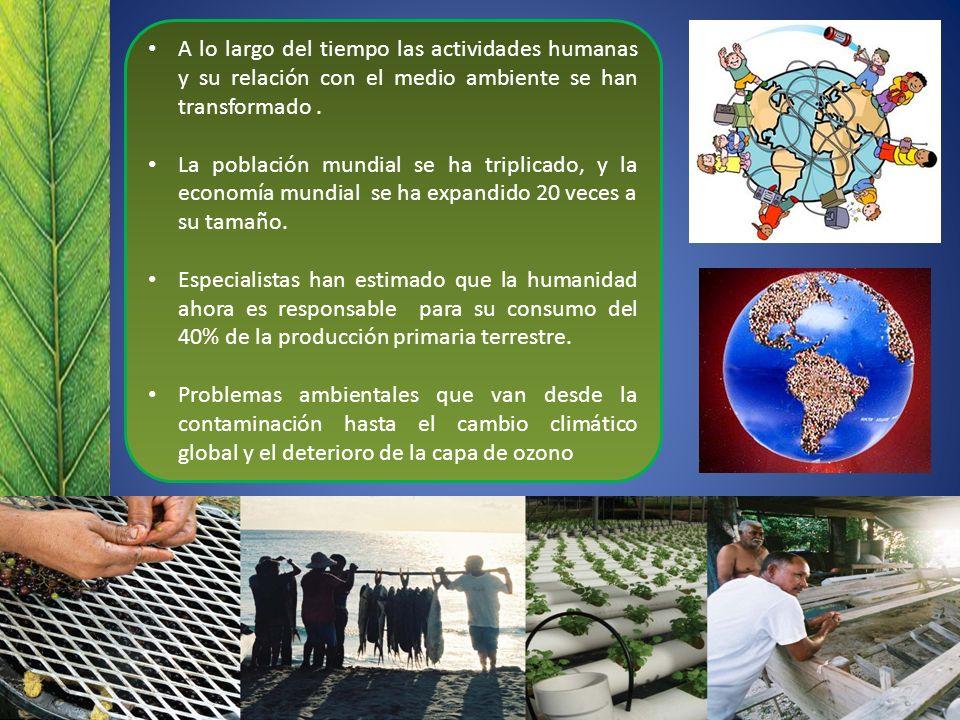 A lo largo del tiempo las actividades humanas y su relación con el medio ambiente se han transformado. La población mundial se ha triplicado, y la eco