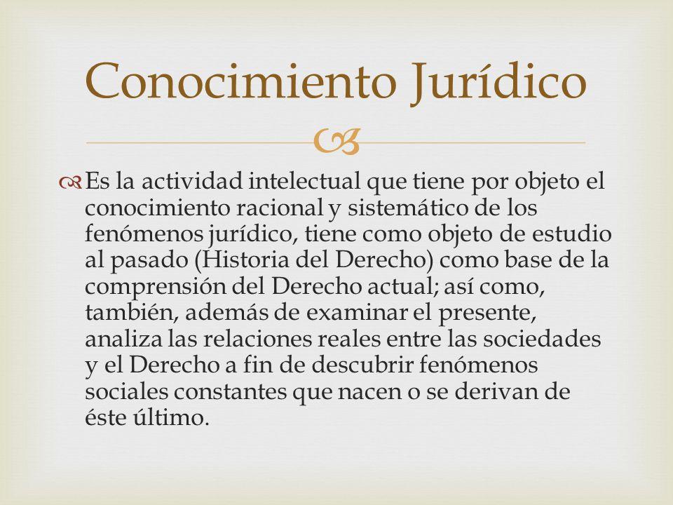 Es la actividad intelectual que tiene por objeto el conocimiento racional y sistemático de los fenómenos jurídico, tiene como objeto de estudio al pas