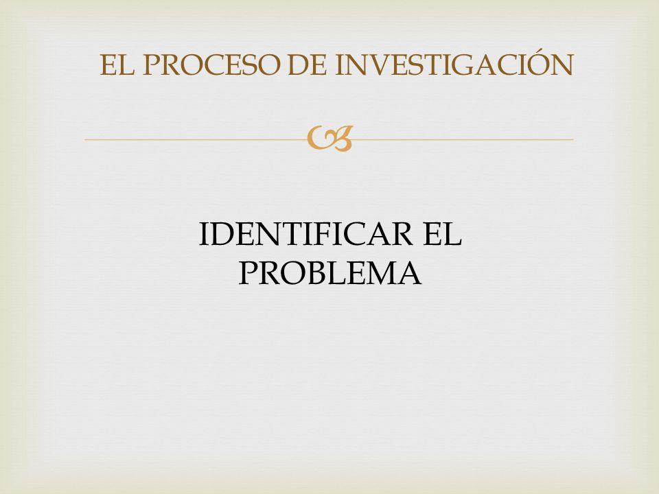 EL PROCESO DE INVESTIGACIÓN IDENTIFICAR EL PROBLEMA