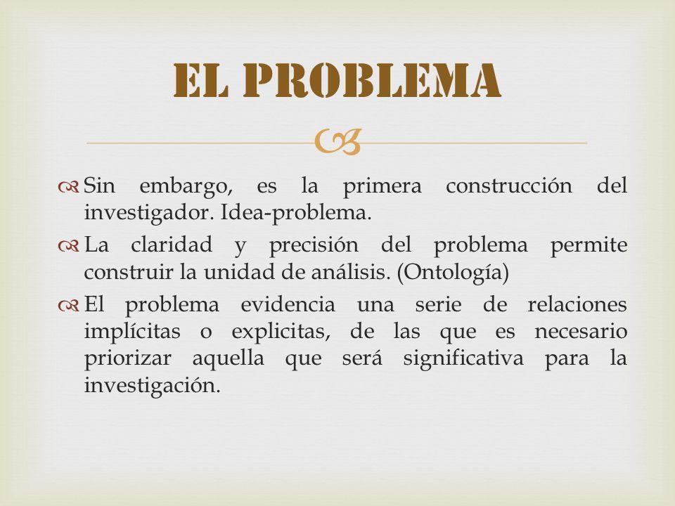 Sin embargo, es la primera construcción del investigador. Idea-problema. La claridad y precisión del problema permite construir la unidad de análisis.