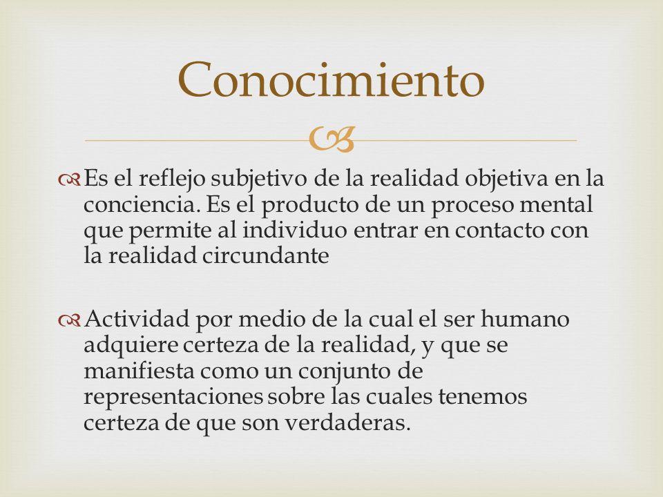 Es el reflejo subjetivo de la realidad objetiva en la conciencia. Es el producto de un proceso mental que permite al individuo entrar en contacto con