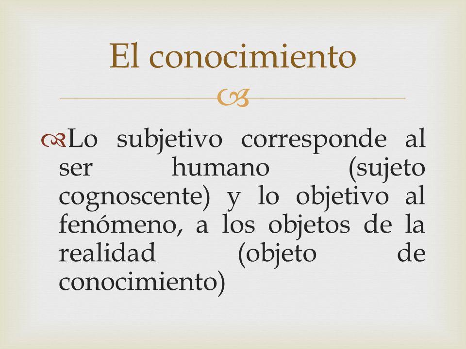 Lo subjetivo corresponde al ser humano (sujeto cognoscente) y lo objetivo al fenómeno, a los objetos de la realidad (objeto de conocimiento) El conoci