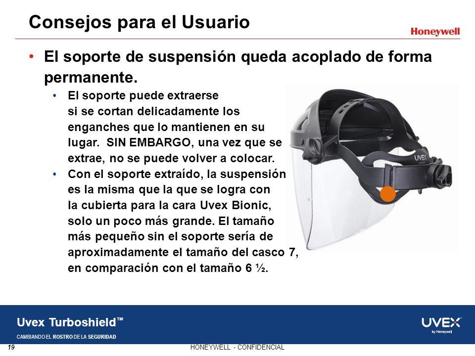 19HONEYWELL - CONFIDENCIAL Uvex Turboshield CAMBIANDO EL ROSTRO DE LA SEGURIDAD El soporte de suspensión queda acoplado de forma permanente. El soport