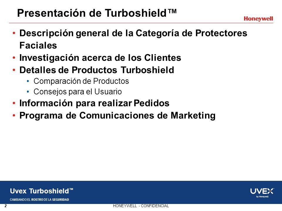 2HONEYWELL - CONFIDENCIAL Uvex Turboshield CAMBIANDO EL ROSTRO DE LA SEGURIDAD Presentación de Turboshield Descripción general de la Categoría de Prot