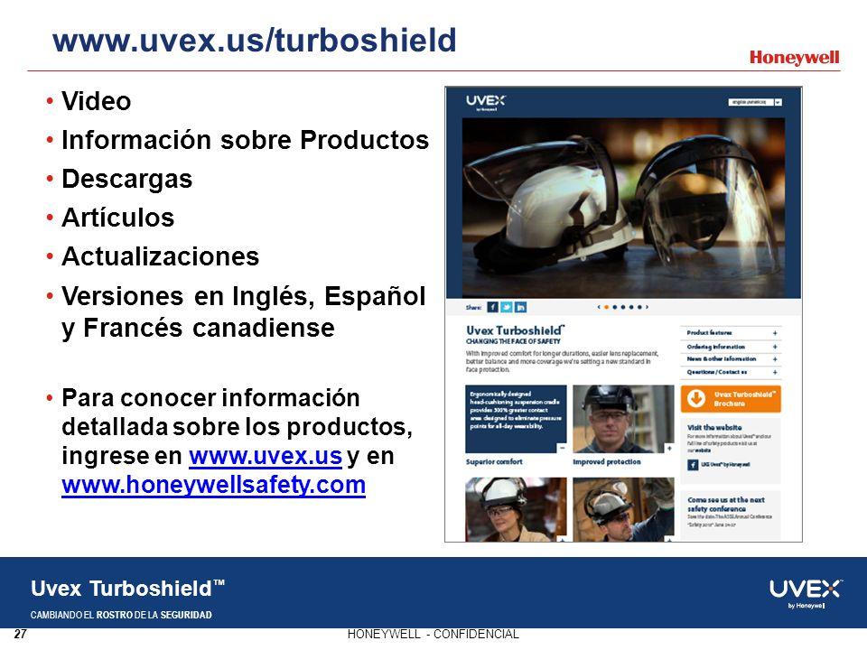 27HONEYWELL - CONFIDENCIAL Uvex Turboshield CAMBIANDO EL ROSTRO DE LA SEGURIDAD Video Información sobre Productos Descargas Artículos Actualizaciones