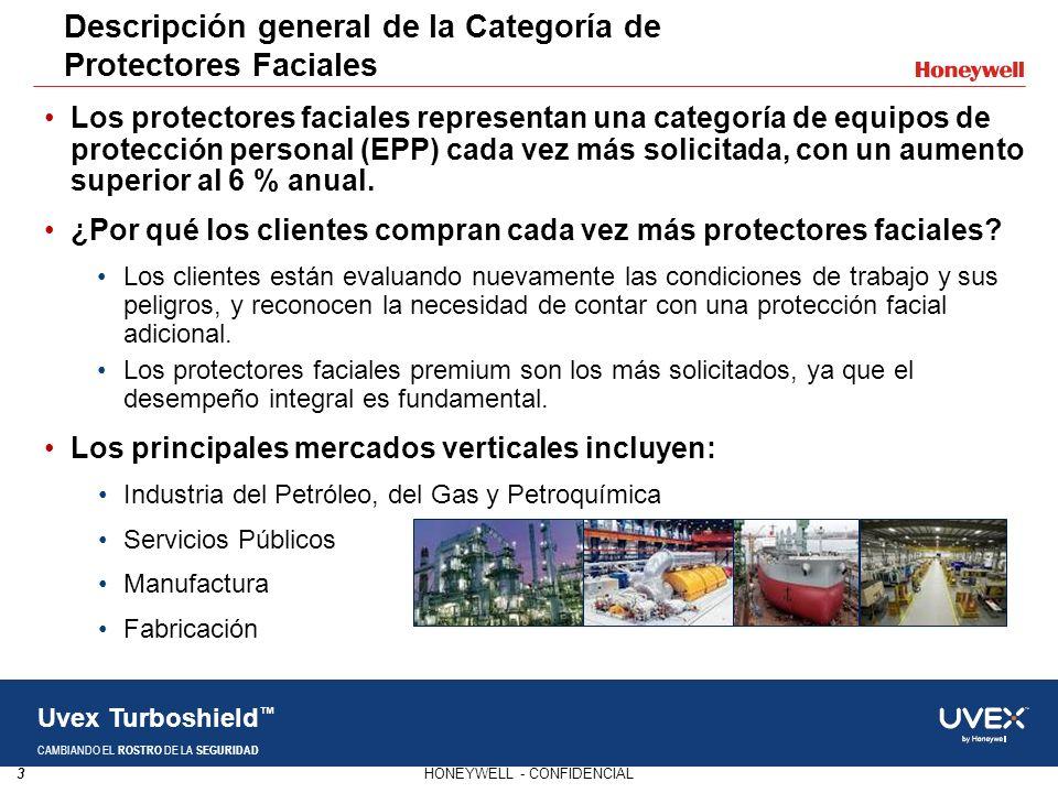 3HONEYWELL - CONFIDENCIAL Uvex Turboshield CAMBIANDO EL ROSTRO DE LA SEGURIDAD Los protectores faciales representan una categoría de equipos de protec