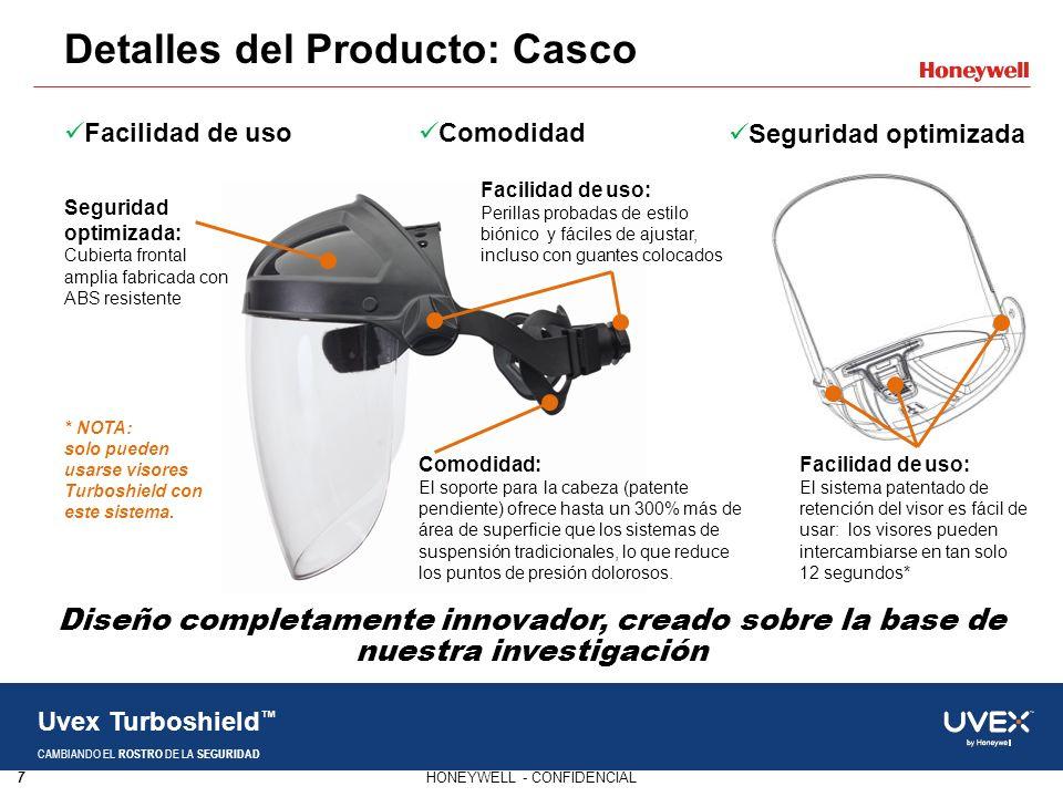 7HONEYWELL - CONFIDENCIAL Uvex Turboshield CAMBIANDO EL ROSTRO DE LA SEGURIDAD Detalles del Producto: Casco Diseño completamente innovador, creado sob