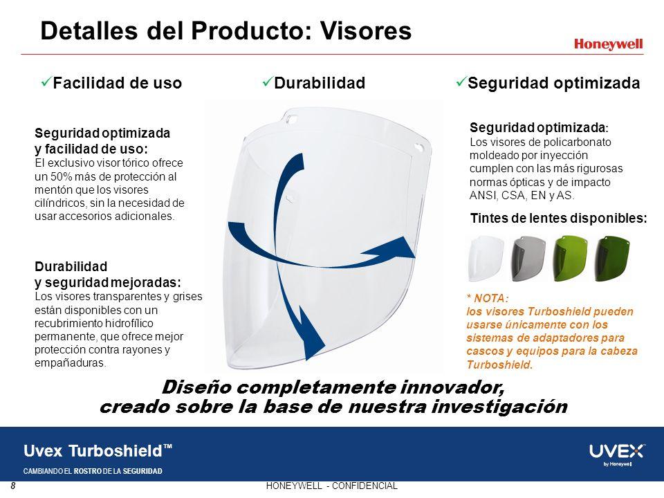 8HONEYWELL - CONFIDENCIAL Uvex Turboshield CAMBIANDO EL ROSTRO DE LA SEGURIDAD Detalles del Producto: Visores Seguridad optimizada y facilidad de uso: