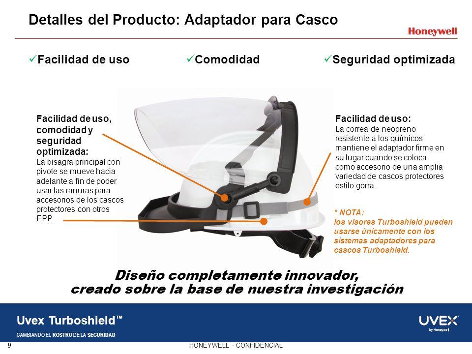 9HONEYWELL - CONFIDENCIAL Uvex Turboshield CAMBIANDO EL ROSTRO DE LA SEGURIDAD Detalles del Producto: Adaptador para Casco Facilidad de uso Comodidad