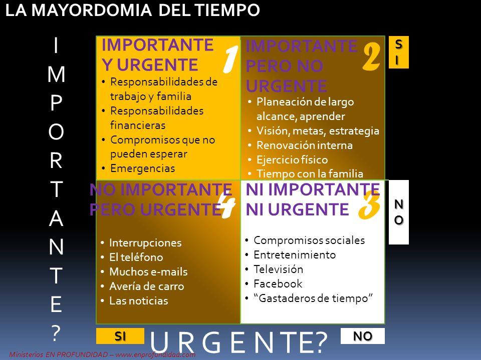 U R G E N TE? SISISISI NONONONO SINO IMPORTANTE Y URGENTE IMPORTANTE PERO NO URGENTE 1 34 2 Ministerios EN PROFUNDIDAD – www.enprofundidad.com IMPORTA