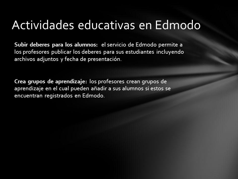 Subir deberes para los alumnos: el servicio de Edmodo permite a los profesores publicar los deberes para sus estudiantes incluyendo archivos adjuntos