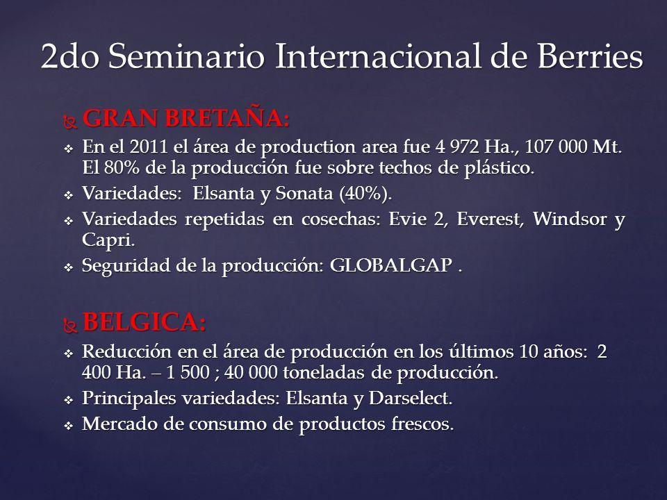 GRAN BRETAÑA: GRAN BRETAÑA: En el 2011 el área de production area fue 4 972 Ha., 107 000 Mt. El 80% de la producción fue sobre techos de plástico. En