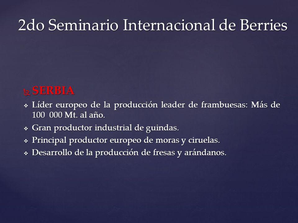 SERBIA SERBIA Líder europeo de la producción leader de frambuesas: Más de 100 000 Mt. al año. Líder europeo de la producción leader de frambuesas: Más