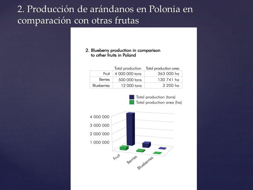 2. Producción de arándanos en Polonia en comparación con otras frutas