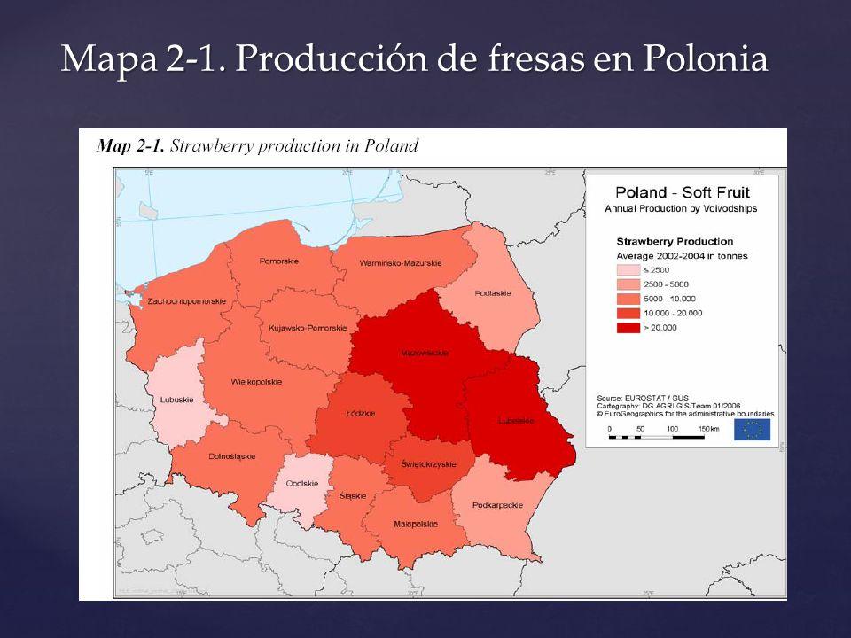 Mapa 2-1. Producción de fresas en Polonia