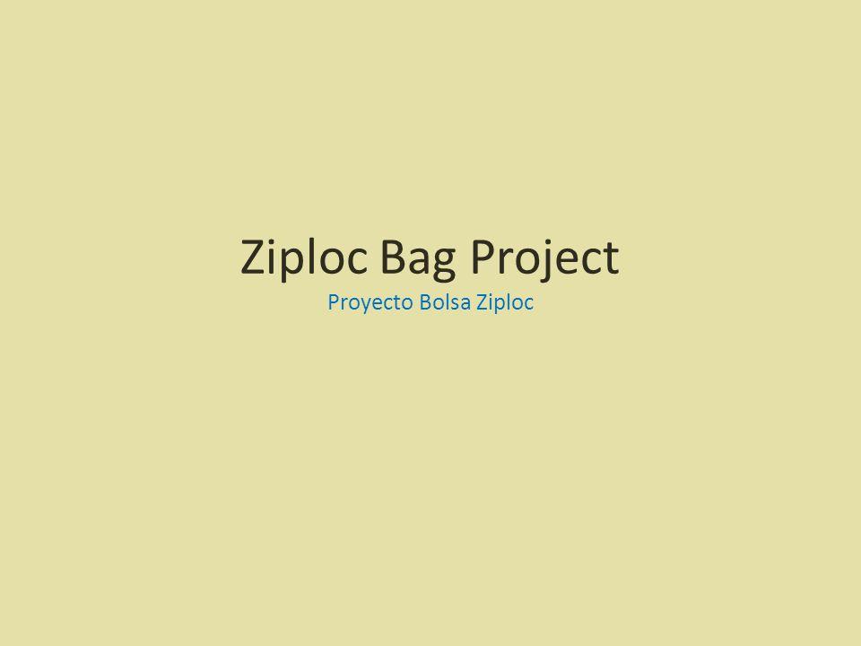 Ziploc Bag Project Proyecto Bolsa Ziploc