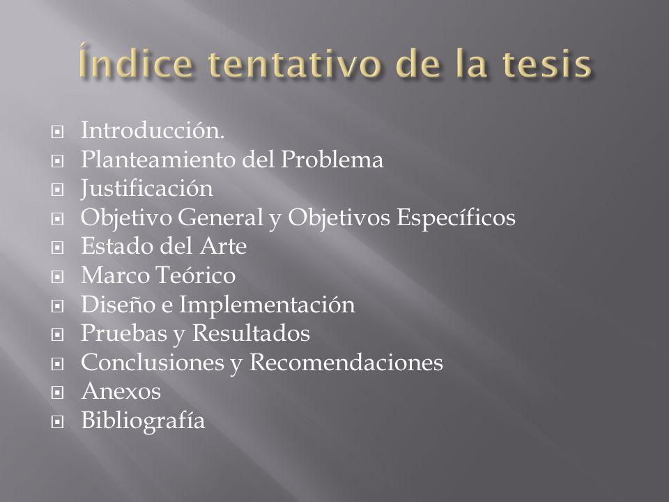 Introducción. Planteamiento del Problema Justificación Objetivo General y Objetivos Específicos Estado del Arte Marco Teórico Diseño e Implementación