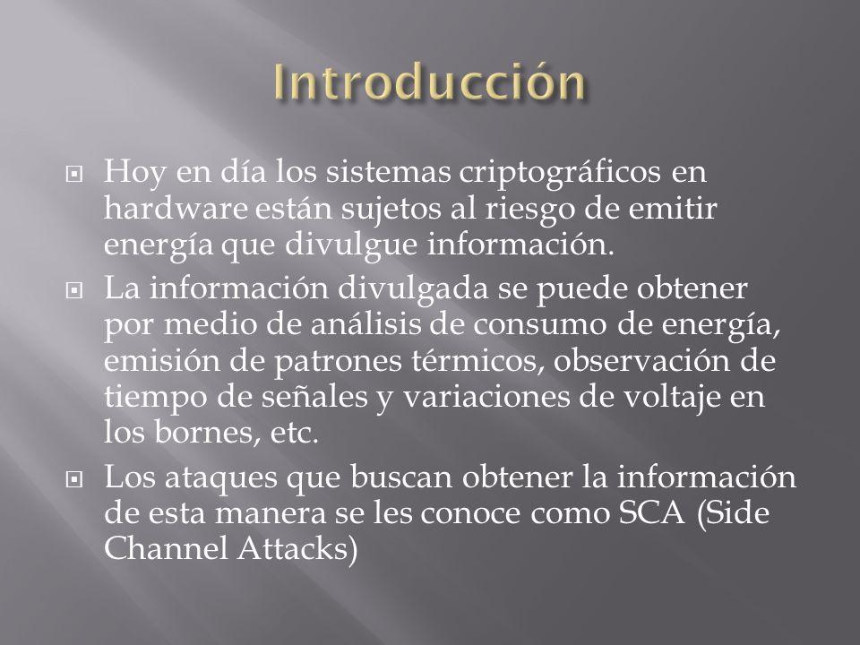 Hoy en día los sistemas criptográficos en hardware están sujetos al riesgo de emitir energía que divulgue información. La información divulgada se pue