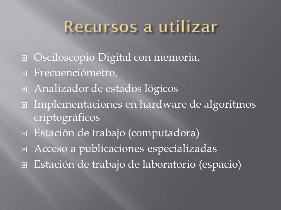 Osciloscopio Digital con memoria, Frecuenciómetro, Analizador de estados lógicos Implementaciones en hardware de algoritmos criptográficos Estación de