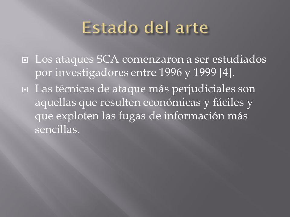 Los ataques SCA comenzaron a ser estudiados por investigadores entre 1996 y 1999 [4]. Las técnicas de ataque más perjudiciales son aquellas que result