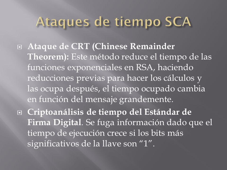 Ataque de CRT (Chinese Remainder Theorem): Este método reduce el tiempo de las funciones exponenciales en RSA, haciendo reducciones previas para hacer