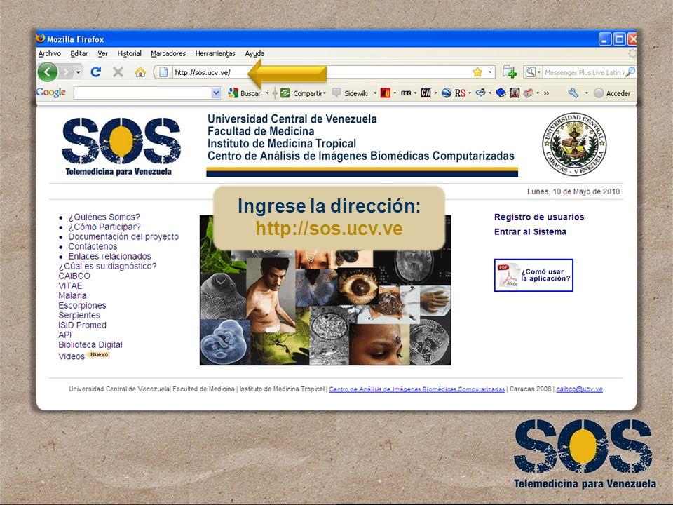 Ingrese la dirección: http://sos.ucv.ve