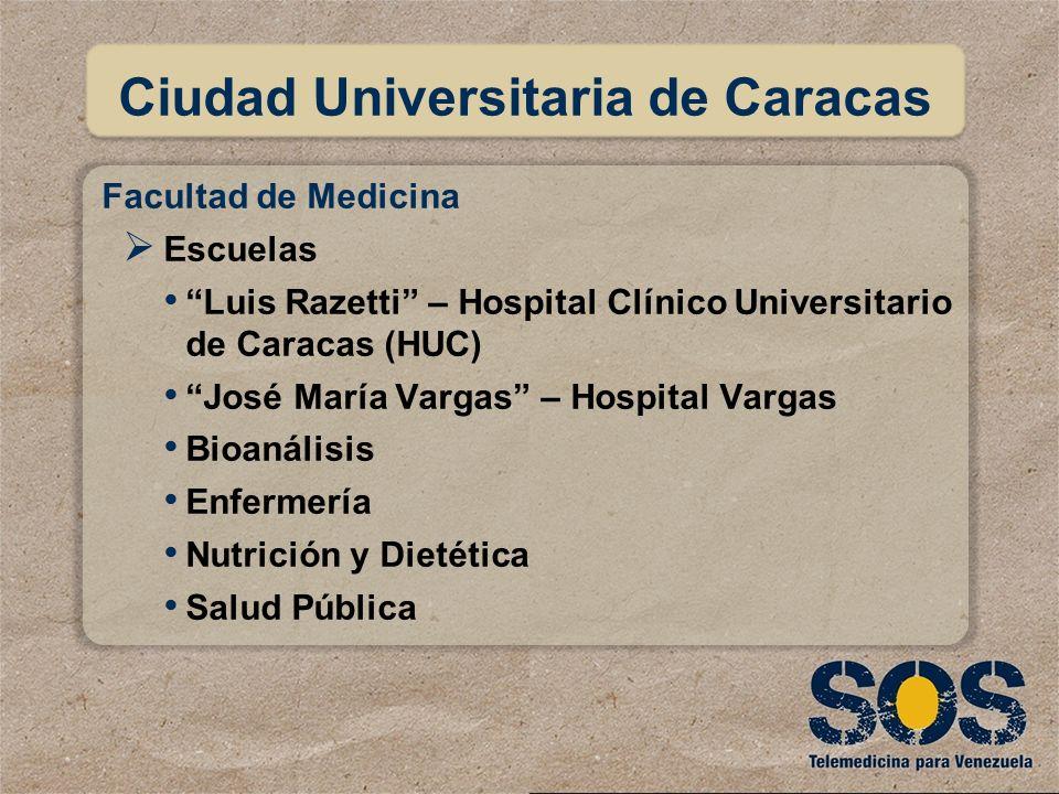 Facultad de Medicina Escuelas Luis Razetti – Hospital Clínico Universitario de Caracas (HUC) José María Vargas – Hospital Vargas Bioanálisis Enfermerí