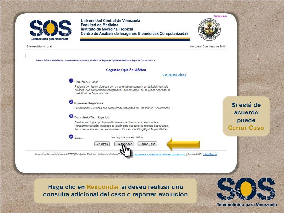 Haga clic en Responder si desea realizar una consulta adicional del caso o reportar evolución Si está de acuerdo puede Cerrar Caso