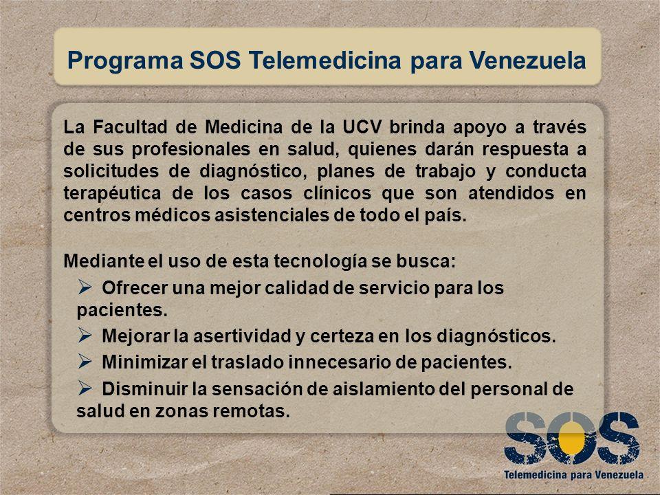 MANUAL DE USUARIO http://sos.ucv.ve Programa SOS Telemedicina para Venezuela