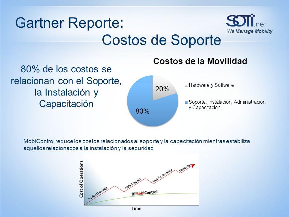 We Manage Mobility 80% de los costos se relacionan con el Soporte, la Instalación y Capacitación MobiControl reduce los costos relacionados al soporte