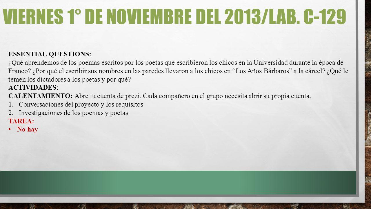VIERNES 1° DE NOVIEMBRE DEL 2013/LAB.