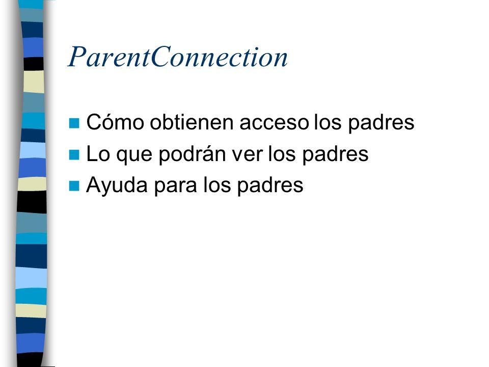 ParentConnection Cómo obtienen acceso los padres Lo que podrán ver los padres Ayuda para los padres