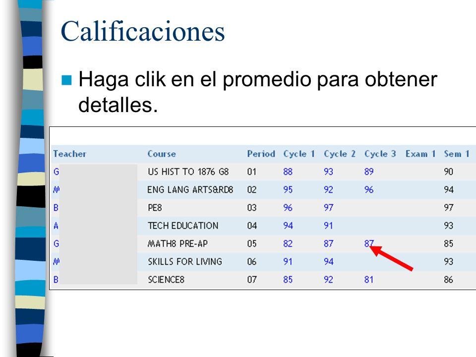 Calificaciones Haga clik en el promedio para obtener detalles.