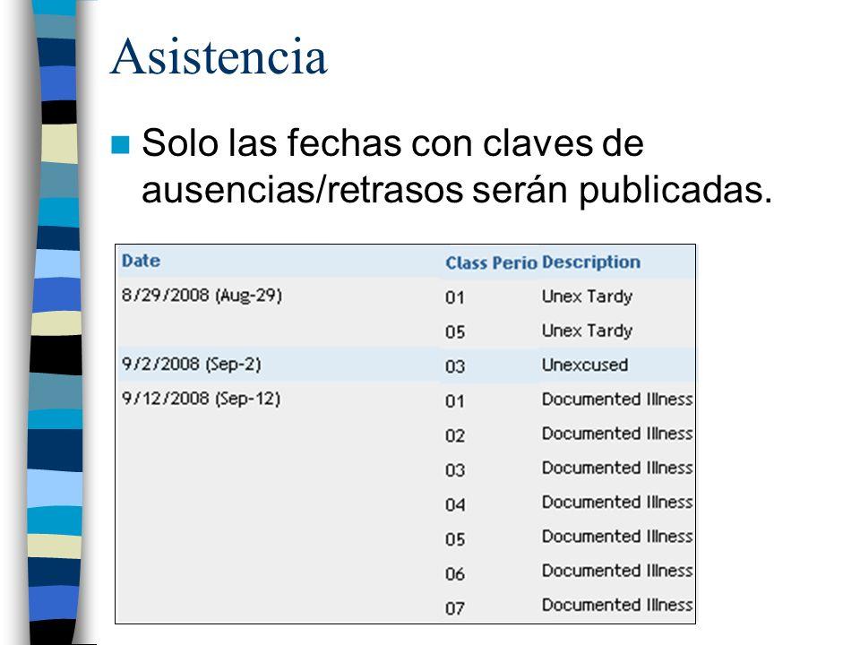 Asistencia Solo las fechas con claves de ausencias/retrasos serán publicadas.