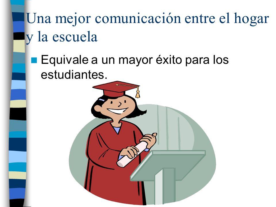 Una mejor comunicación entre el hogar y la escuela Equivale a un mayor éxito para los estudiantes.