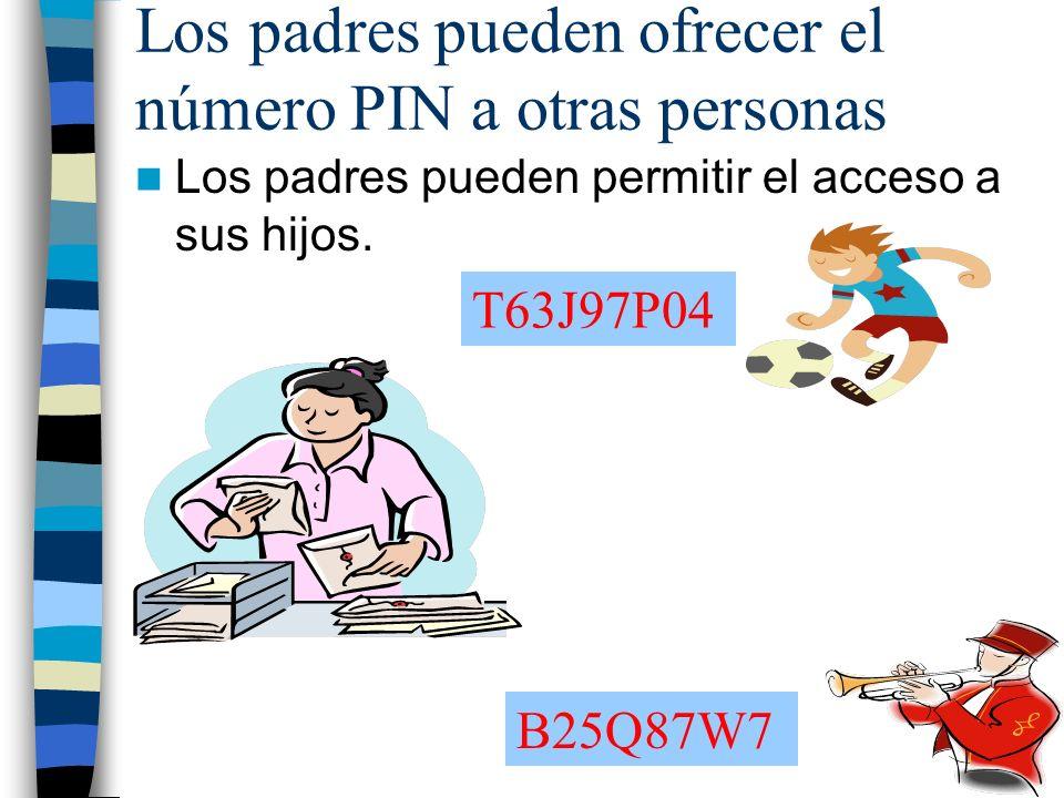 Los padres pueden ofrecer el número PIN a otras personas Los padres pueden permitir el acceso a sus hijos.
